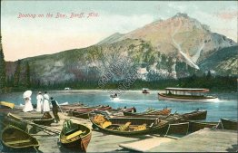 Boating On The Bow, Banff, Alta., Banff, Alberta AB - Early 1900's Postcard