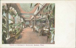 Interior of Davenport's Restaurant, Spokane, WA - Early 1900's Postcard