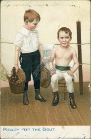 Ready for the Bout - Early 1900's Boxing Postcard