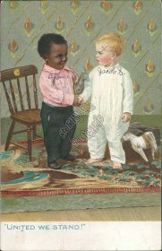 Boys Shaking Hands, United We Stand! - Early 1900's Black Americana Postcard
