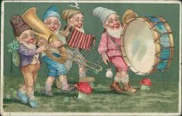 Gnomes Playing Musical Instruments, Drum, Trombone, Accordian Postcard