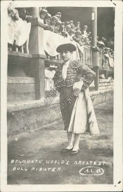 Belmonte, World's Famous Bull Fighter, Lima, Peru Atlantic Fleet RP Postcard