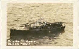 Admiral's Barge, USS California - Early 1900's Real Photo RP Navy Ship Postcard