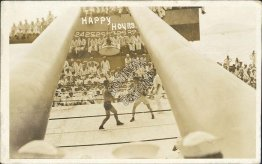 Happy Hour Boxing Match, US Navy Ship, Sailors - Early 1900's RP Postcard