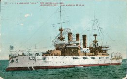 US Navy Battleship Ohio, Ellis Morrison, Washington Politican 1908 Postcard