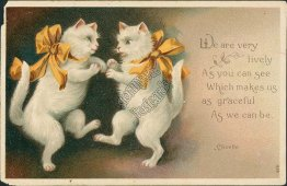 Dancing Cats - Early 1900's Embossed Clivette Artist Signed Postcard