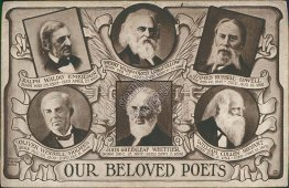 Our Beloved Poets - Emerson, Longfellow, Lowell, Holmes, Whittier Postcard