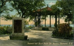 Fountain & Band Stand, The Battery, Charleston, SC South Carolina Early Postcard