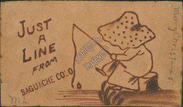 Girl Fishing, Just a Line from Saguache, CO 1906 LEATHER Postcard