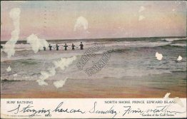 Surf Bathing, North Shore Prince Edward Island, Canada - Early 1900's Postcard