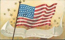 Star Spangled Banner, US Flag, Stars, 4th Fourth of July Early Embossed Postcard