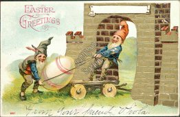 2 Gnomes Hauling Egg, Golden Brick Wall 1906 Embossed Easter Postcard