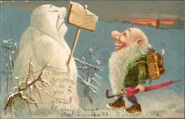 Snowman, Elf w/ Umbrella, Backpack 1906 Embossed TUCK Fantasy Christmas Postcard