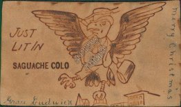 Dressed Eagle w/ Top Hat, Just Lit in Saguache CO Colorado 1906 LEATHER Postcard