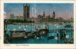 House of Parliament, London, England UK - Early 1900's MetallicPostcard