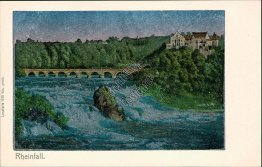 Rhine Falls, Switzerland - Early 1900's Metallic Postcard