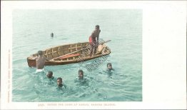 Diving for Coins, Nassau, Bahamas Pre-1907 Black Americana Postcard