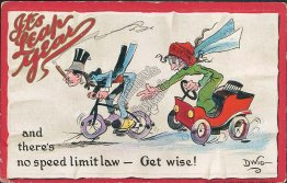 Woman, Car Chasing Man in Bicycle, Leap Year DWIG 1912 Embossed Postcard