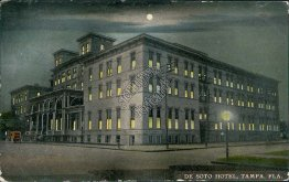 De Soto Hotel at Night, Tampa, FL Florida - Early 1900's Postcard