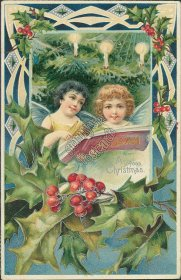 Cherubs Reading Alleluja Book - Early 1900's Embossed Christmas XMAS Postcard