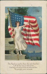 Woman Holding US Flag - Early 1900's Embossed Postcard, Merna NE Cancel