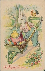 Dressed Bunny in Overalls Hauling Wheelbarrow - 1914 Easter Postcard