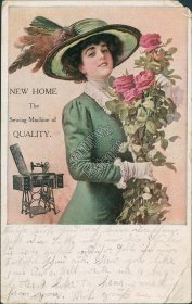 New Home, Sewing Machine Advertisement, Roscoe, NE 1915 Postcard