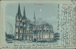Dom Sudseite, Koln, Cologne, Germany - HOLD TO LIGHT Postcard 1900 Cancel, Stamp