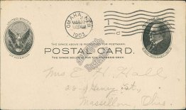 Omaha, NE to Massillon, OH 1903 McKinley Postal Card