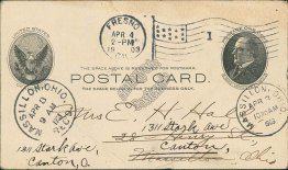Fresno, CA California to Massillon, OH Ohio 1903 McKinley Postal Card