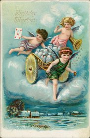 Cherubs, Money Bags, Cart - Early 1900's Birthday Greetings Postcard