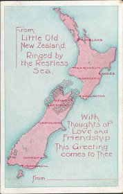 New Zealand Map, NZ - Early 1900's Postcard