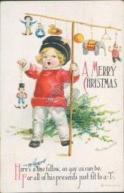 Girl Holding Pole with Dolls, Toys - Christmas CLAPSADDLE Embossed Postcard