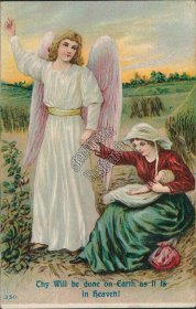 Angel, Woman & Child, Thy Will Be Done on Earth - Early 1900's Postcard