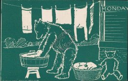 Monday, Teddy Bear Washing Clothes - 1907 Postcard