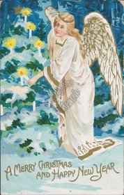 Angel Lighting Christmas Tree - Early 1900's Embossed XMAS Postcard