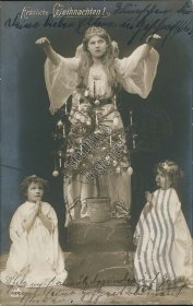 Angel, Tree, 2 Kids Praying - Early 1900's German RP Photo Christmas Postcard
