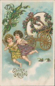 Cherubs, Egg Wagon - Early 1900's Embossed Easter Postcard