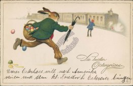 Dressed Rabbit Chasing Train - Early 1900's German Easter Postcard