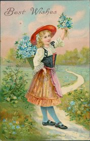 Flower Girl - Early 1900's Greetings Postcard