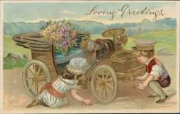 Boy, Girl Fixing a Car, Golden Outline - Early 1900's Greetings Postcard