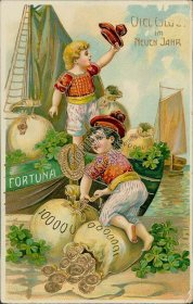 Boys, Sailboat, Bags of Money, Gold Coins - 1910 German New Year Postcard