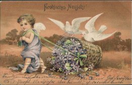 Cherub, Flower Basket - Early 1900's German New Year Postcard