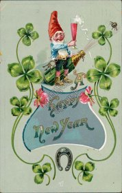 Elf, Champagne Bottle, Glass, Clover - Early 1900's German New Year Postcard
