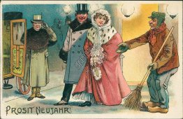 Couple, Carriage, Chauffeur, Homeless Man Early 1900's German New Year Postcard