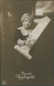 Girl Holding Number 1 - Early 1900's German New Year Postcard