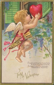 Cherub, Large Heart on Window Ledge - Early 1900's Valentines Day Postcard