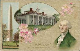 George Washington Birthday - 1909 Embossed Postcard