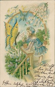 Girl, Large Butterfly, Frohliche Pfingsten, Pentecost - 1906 German Postcard