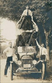 Ford Model T Car, Maine Bible Society Crew of 1917 - Real Photo RP Postcard